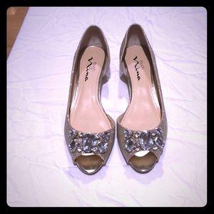 Champagne wedge peep toe shoes